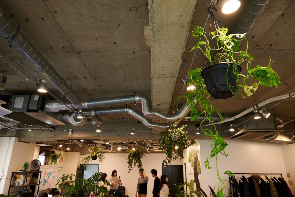 スケルトン天井のオフィス